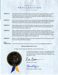 State of Oregon Proclamation